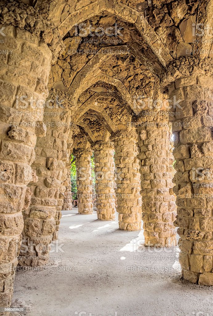 Colonnade of park Guell in Barcelona stock photo