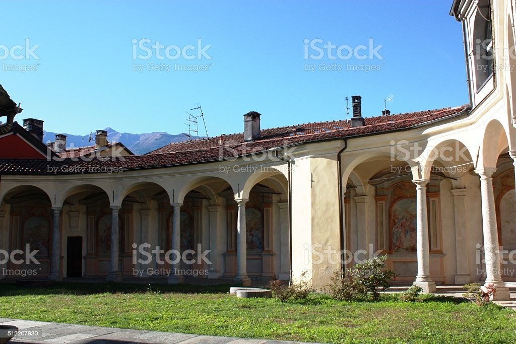 Colonnade of the Church Virgin Mary Assumption in Mergozzo, Italy stock photo