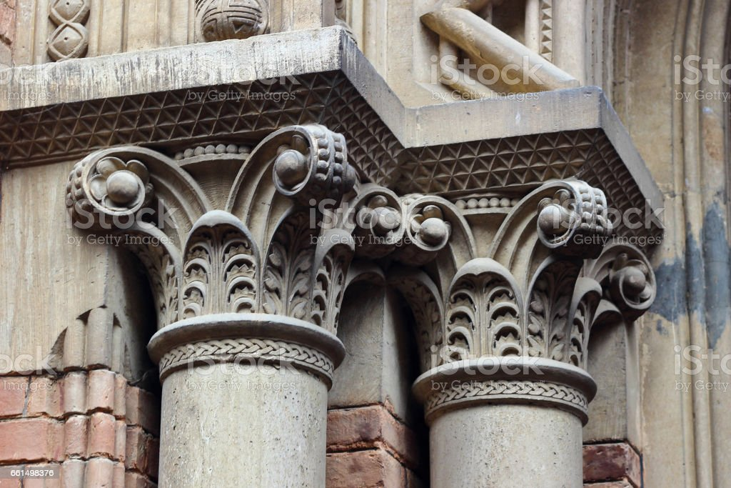 Colonnade of the old church, Hogwarts Ukraine stock photo