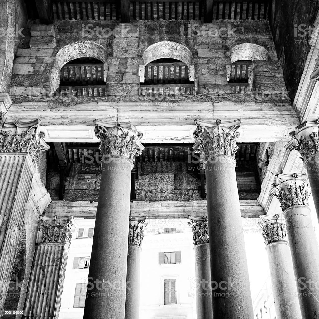 Colonnade of the Pantheon in Rome, Italy stock photo