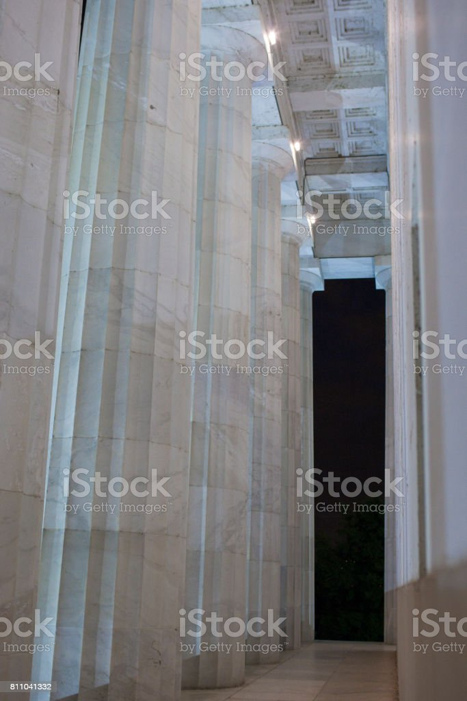 Colonnade Of Thomas Jefferson Memorial at Night Time. stock photo