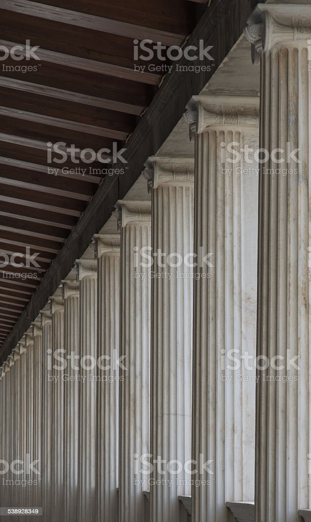 Colonnade upstairs in the ancient agora stock photo