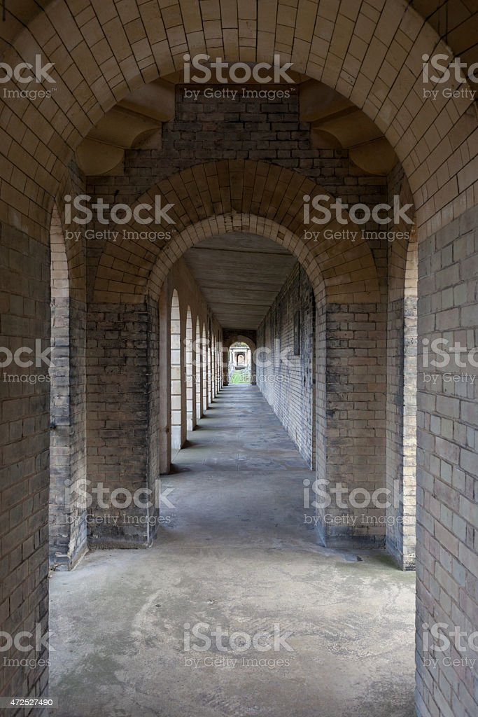 Colonnade with a diminishing perspective stock photo