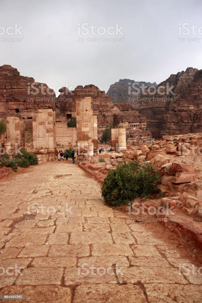Colonnaded street and Temenos gate in ancient Nabatean city of Petra, Jordan Middle East stock photo