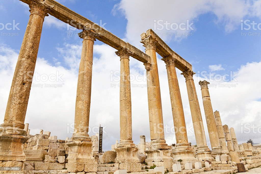 colonnaded street, jerash stock photo