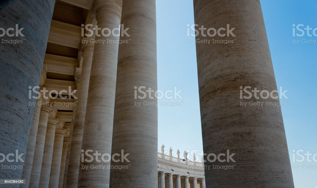 Colonnades at Piazza di San Pietro, Rome stock photo