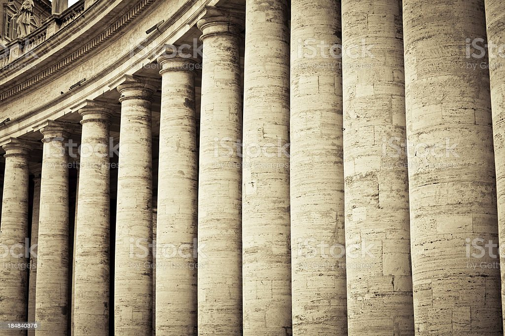 Colonnades in Vatican City, Rome stock photo