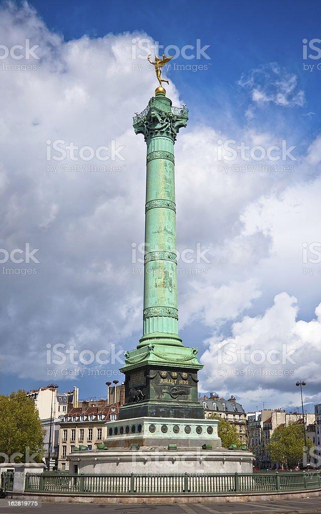 Colonne de Juillet in Paris stock photo