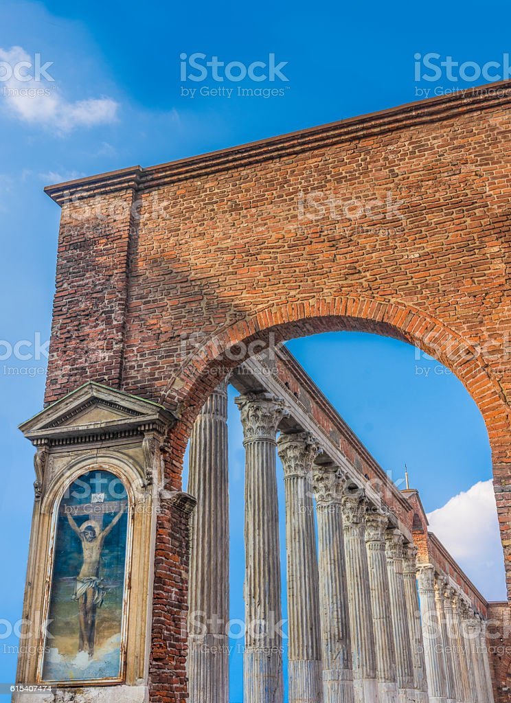 Colonne di San Lorenzo, Milan, Lombardy, Northern Italy. stock photo