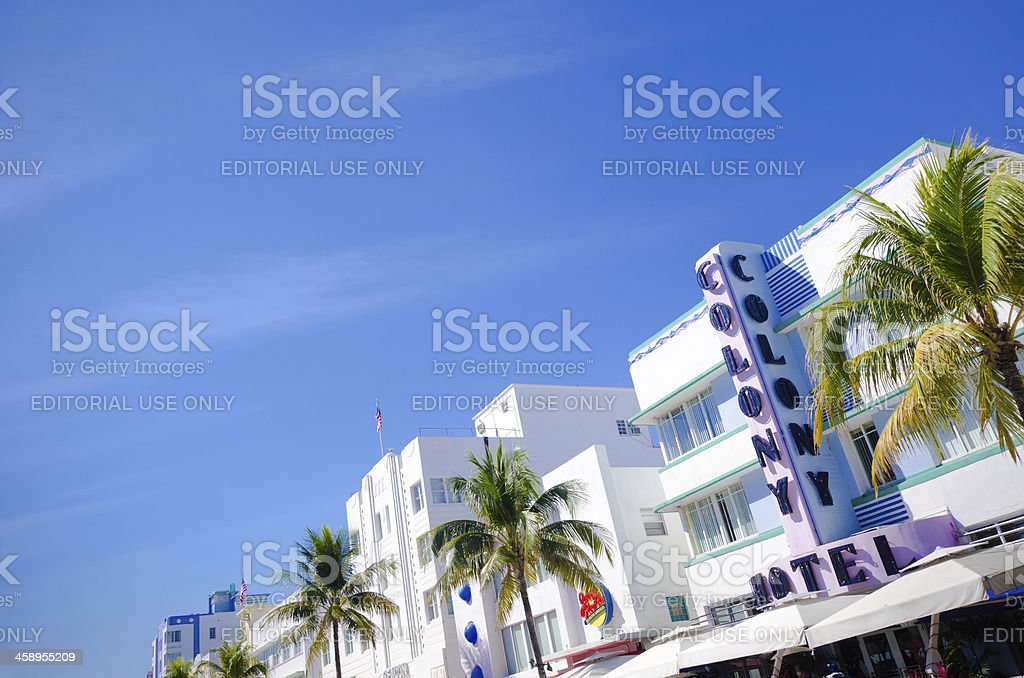 Colony Hotel sign along Ocean Drive in Miami Beach, FL royalty-free stock photo