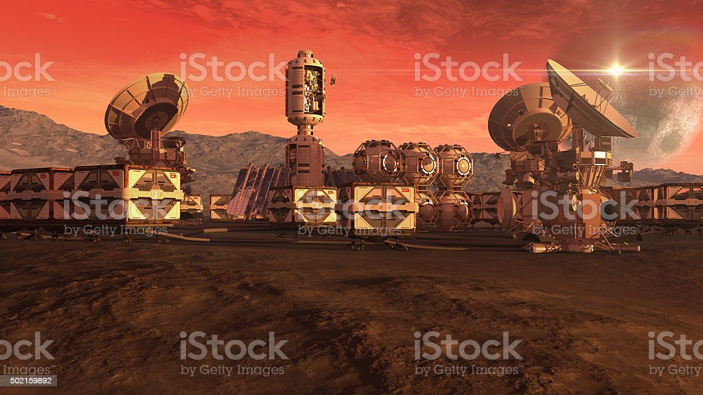 Colony on a red planet stock photo