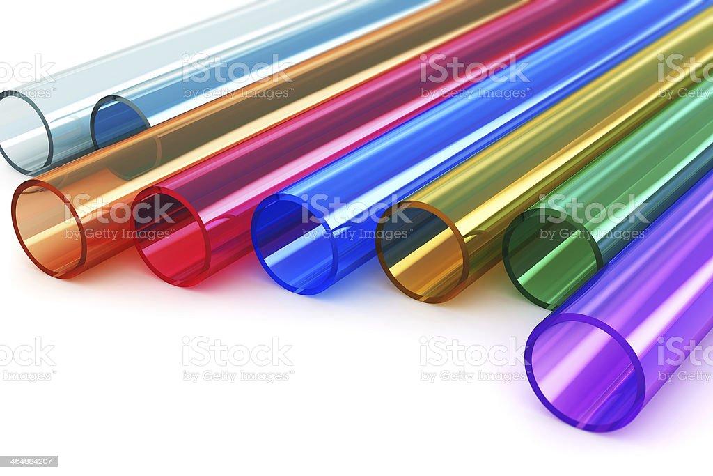 Color acrylic plastic tubes stock photo