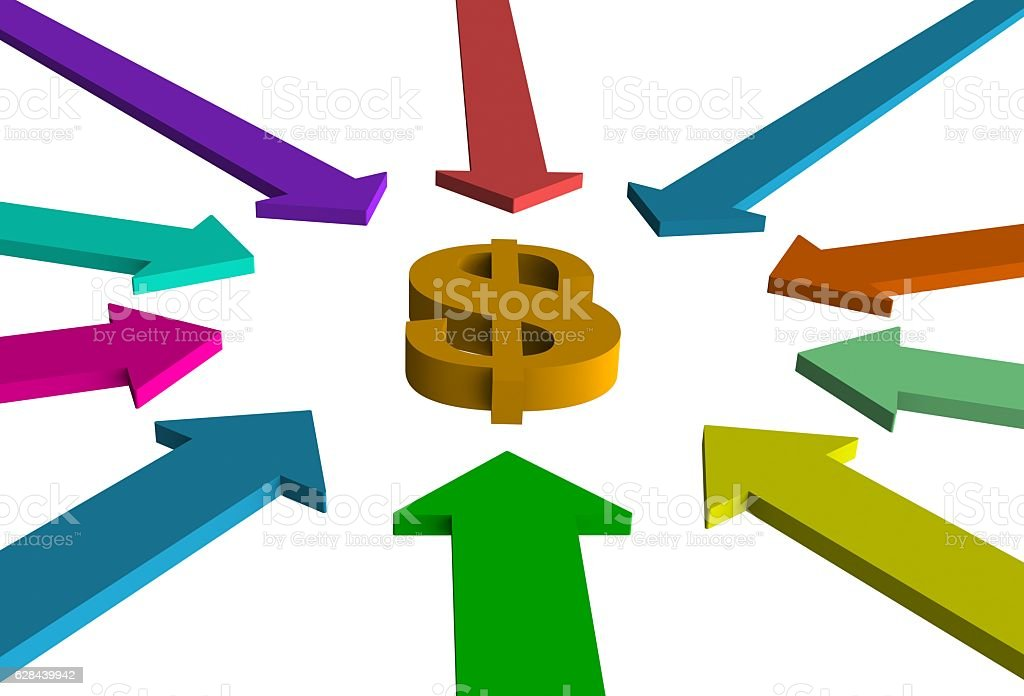color arrow pointing to center of target. success winning concept stock photo