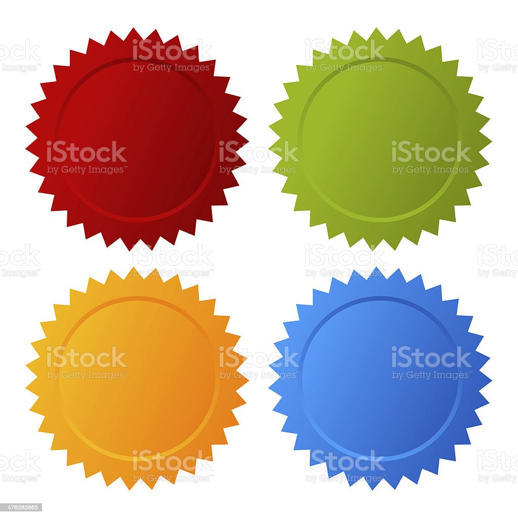Color badges stock photo