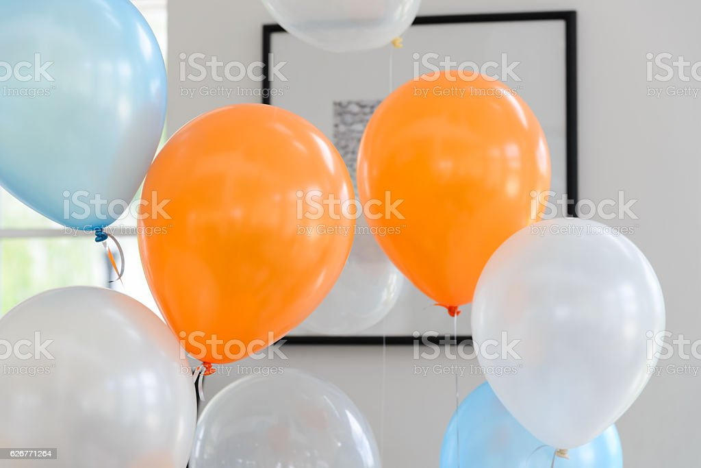 Color balloons for decoration party stock photo