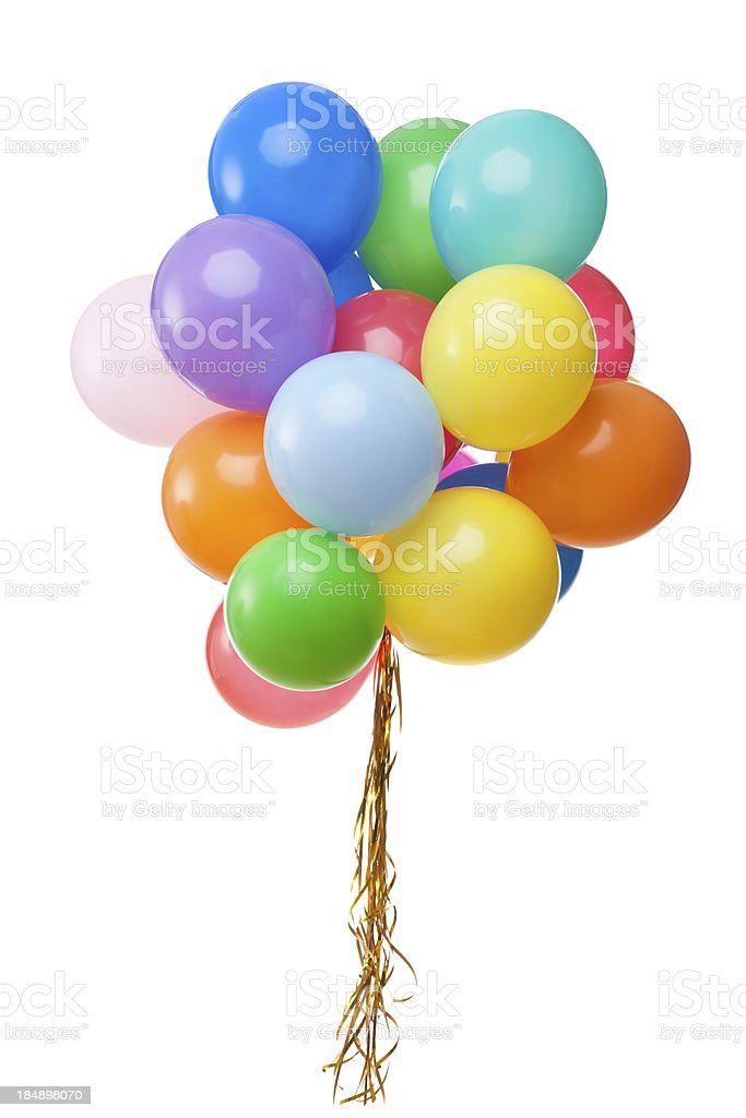 color balloons isolated on white royalty-free stock photo