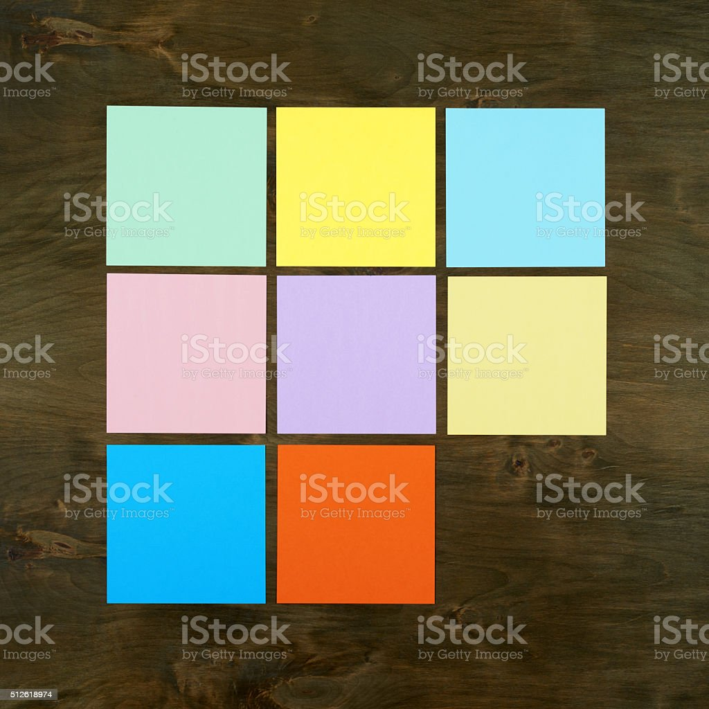 Color bar from paper sticker on wood in square form stock photo
