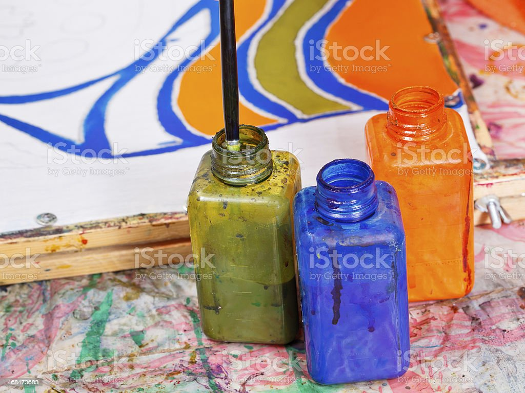color bottles with dyes royalty-free stock photo