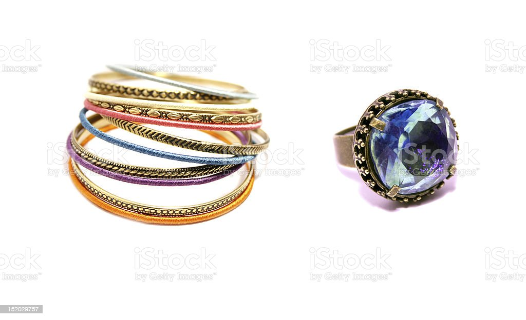 Color Bracelets and Blue Sapphire Ring royalty-free stock photo