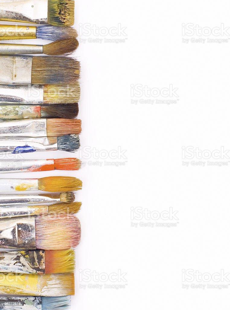 color brushes on white background stock photo
