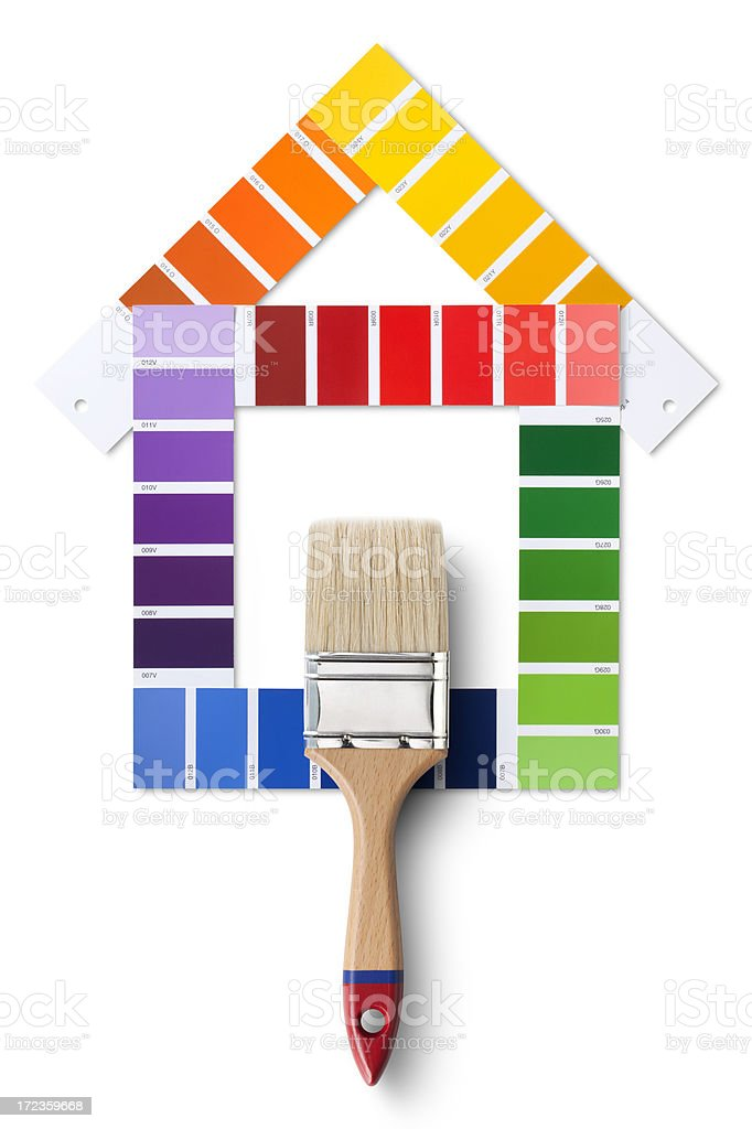 Color card in the shape of house and brush royalty-free stock photo