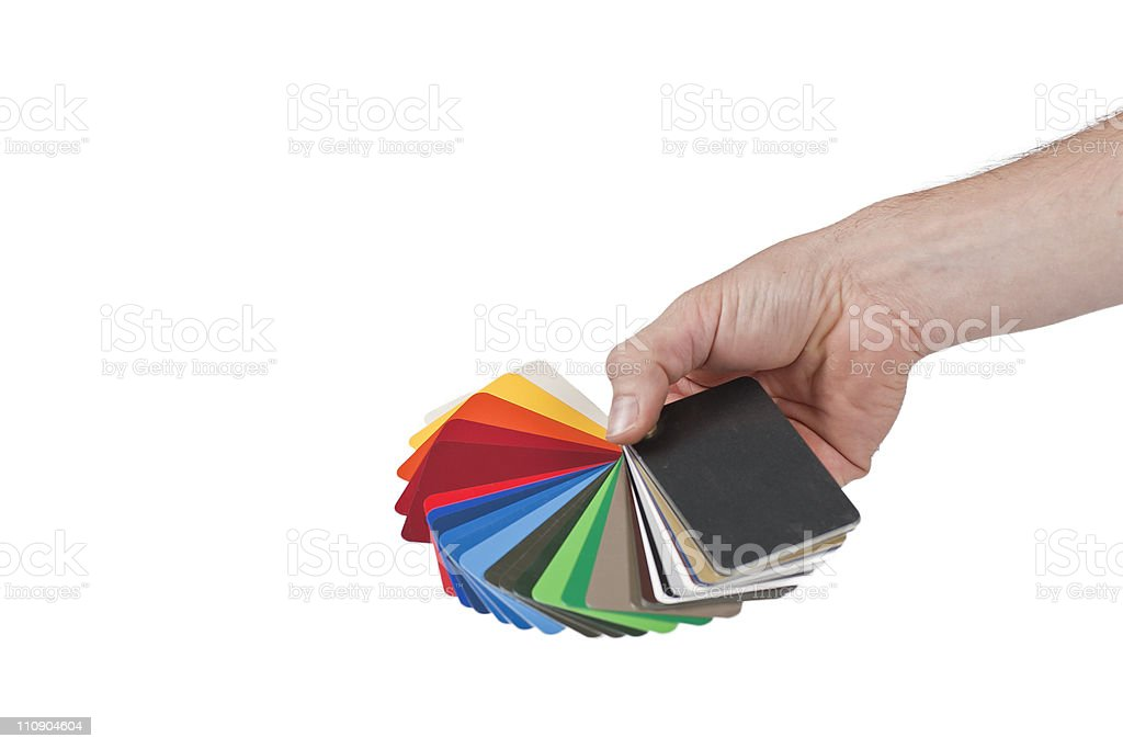 Color Chart hold by human hand royalty-free stock photo