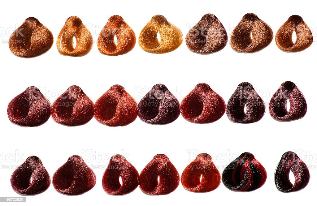 Color chart of swatches of hair in a salon stock photo
