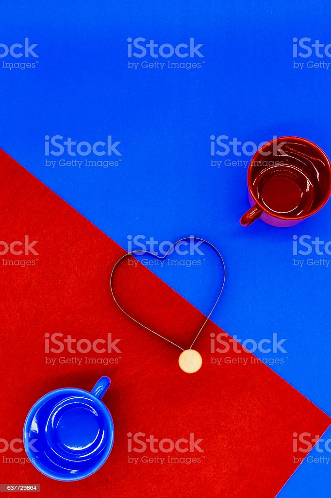 color coffee cup with heart and colorful background stock photo