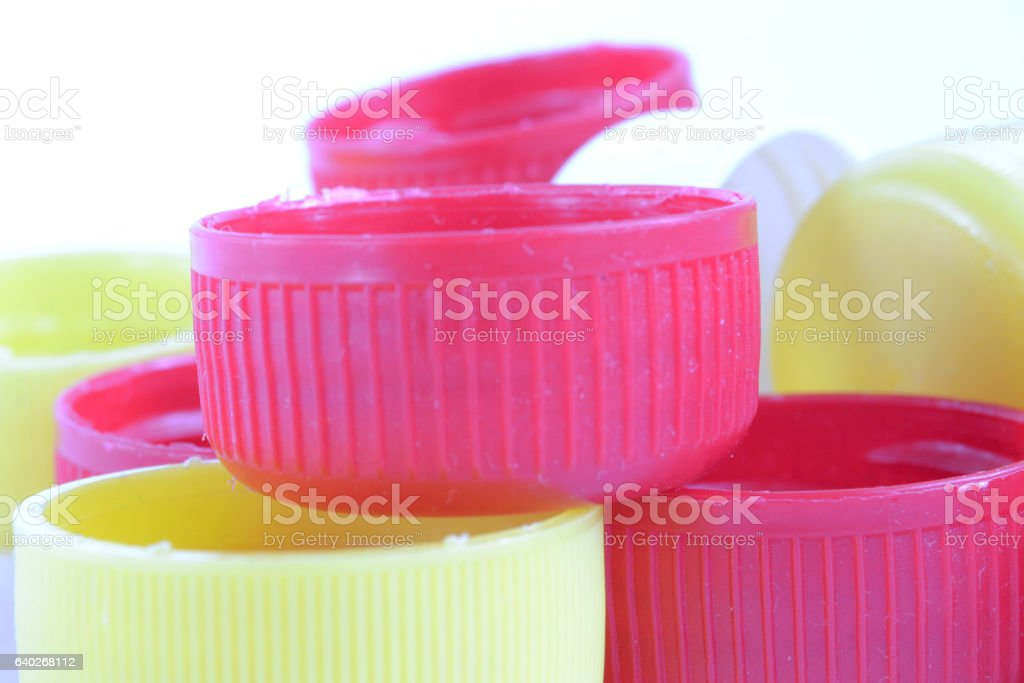 Color corks on white stock photo
