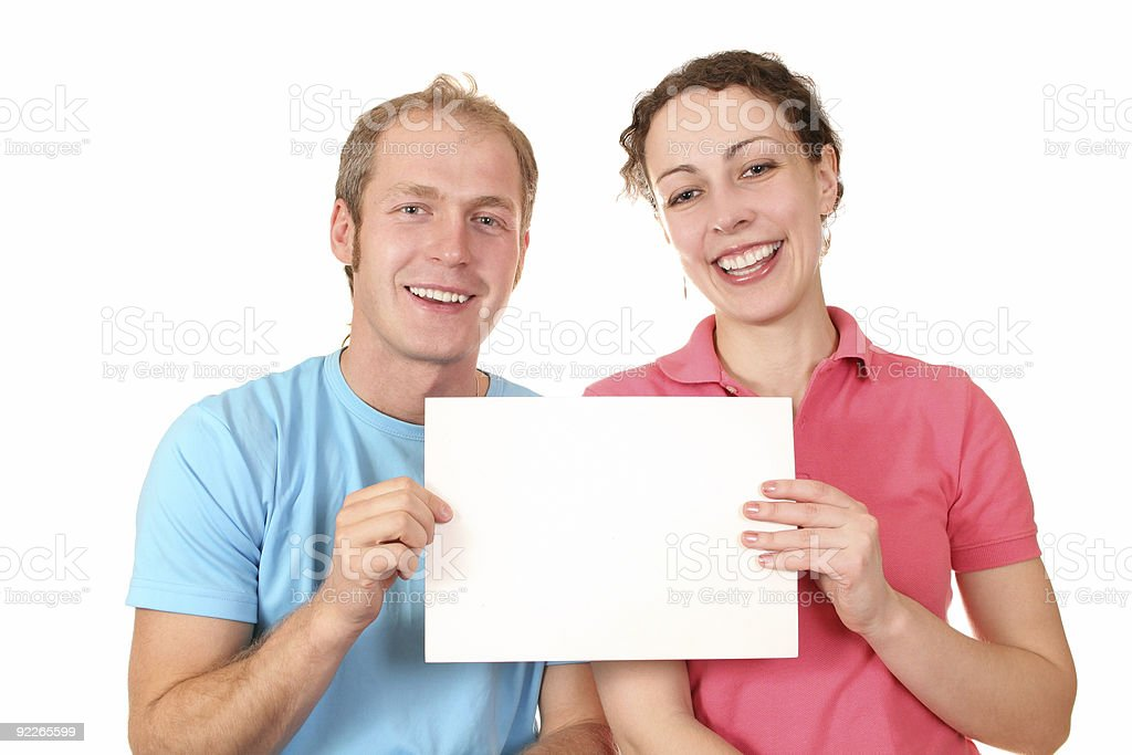 color couple with card for text royalty-free stock photo