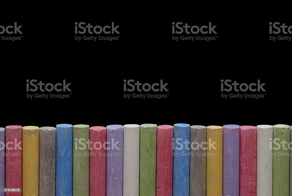 Color crayons in line royalty-free stock photo