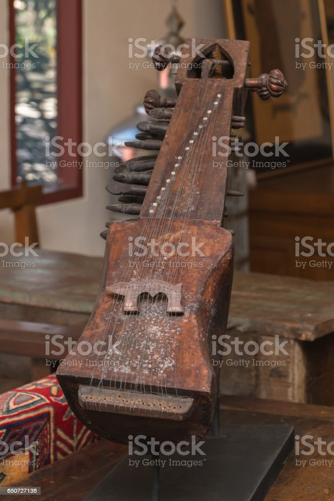 Color detail of an old, vintage guitar stock photo