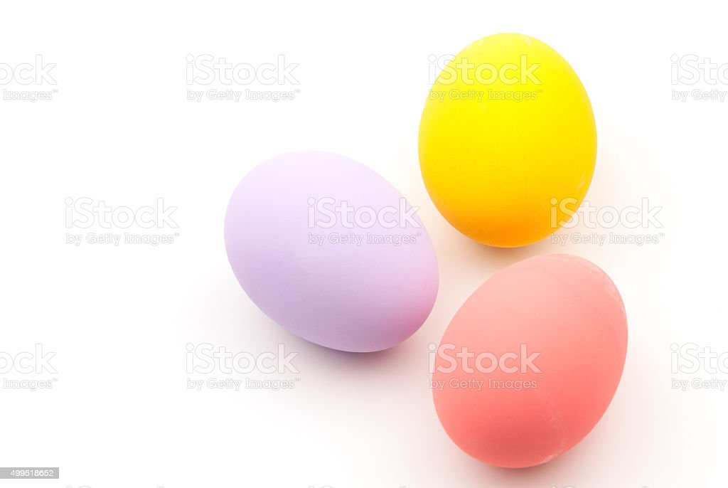 Color eggs on the white background stock photo
