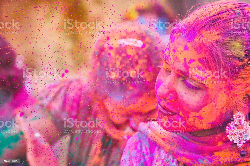 Color Explosion at Holi Festival in India stock photo