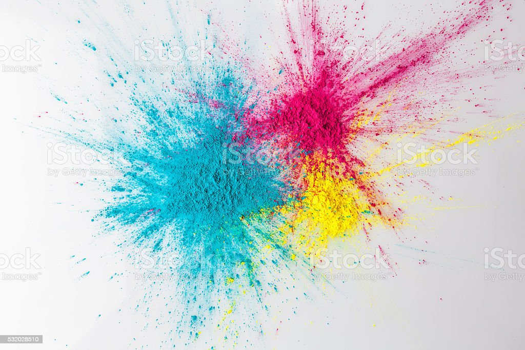 Color explosion concept with holi powder stock photo