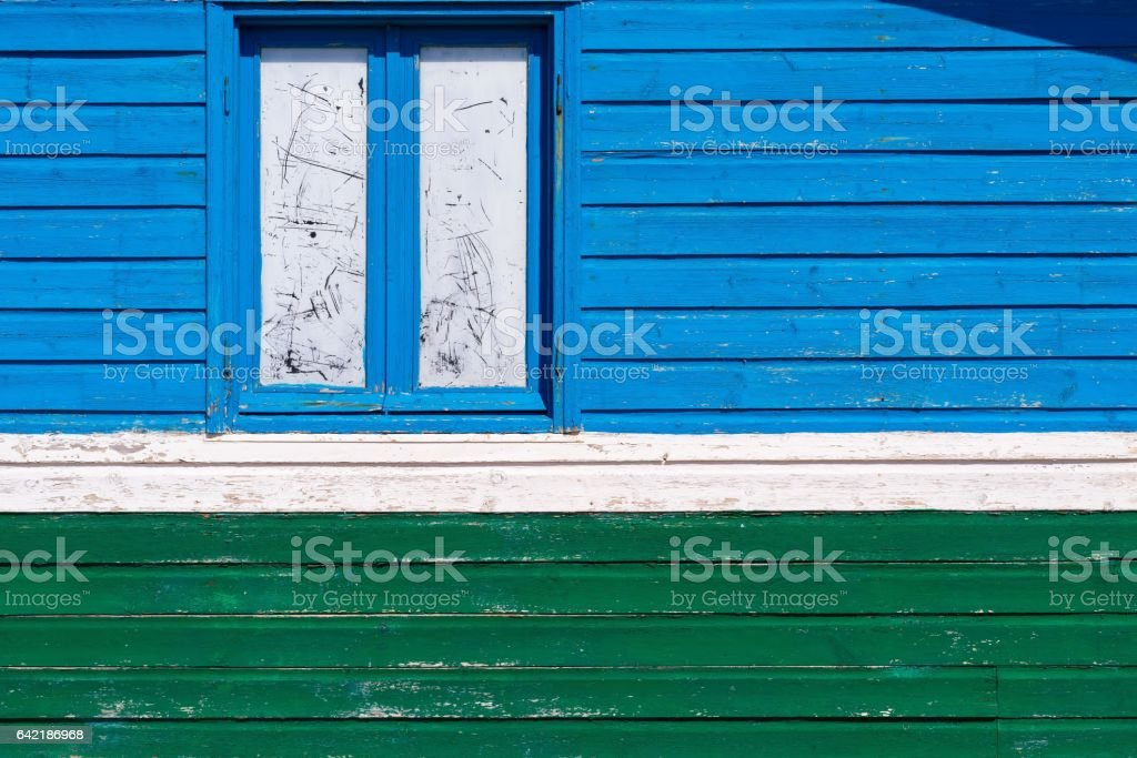 color fragment old house wooden wall and window stock photo