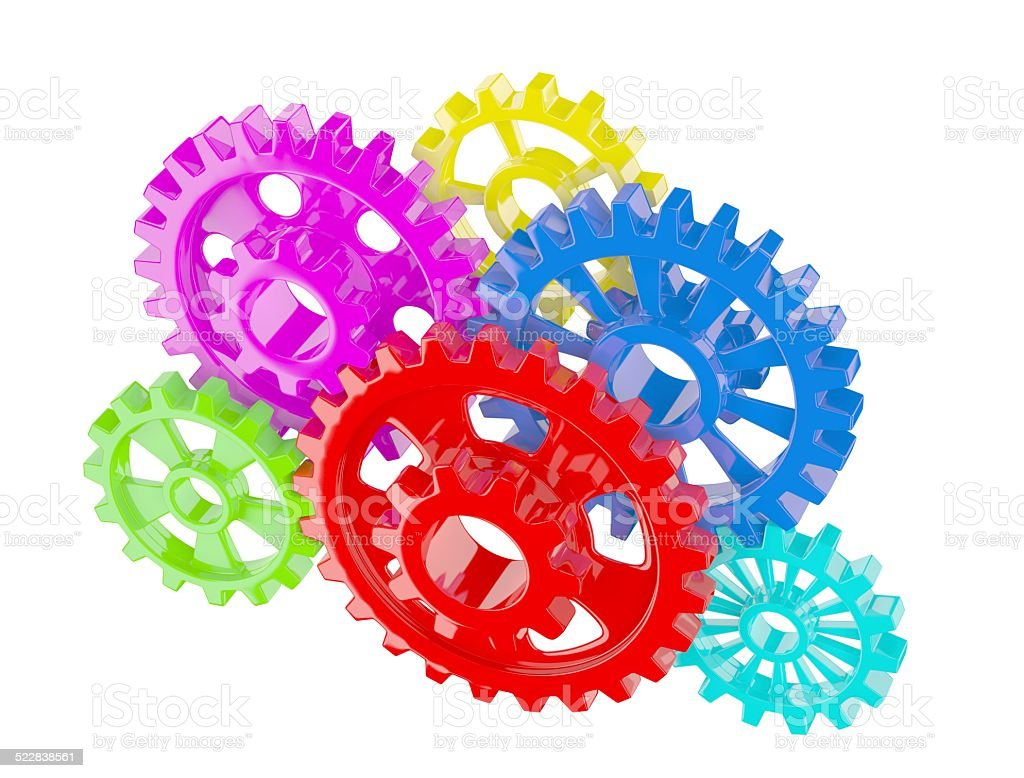 Color gears on white stock photo