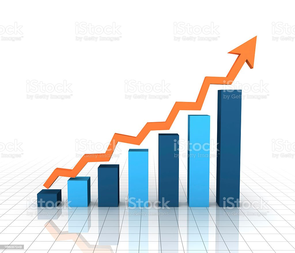 Color Graph With Upward Direction stock photo