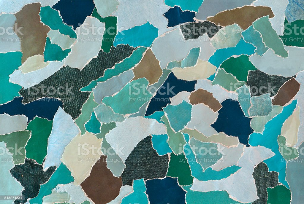color green creative mood board collage sheet of teared magazines stock photo