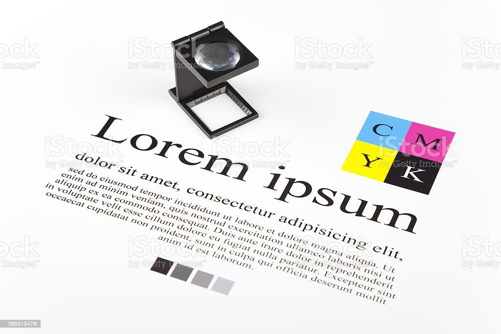 CMYK color guide and lorem ipsum text royalty-free stock photo