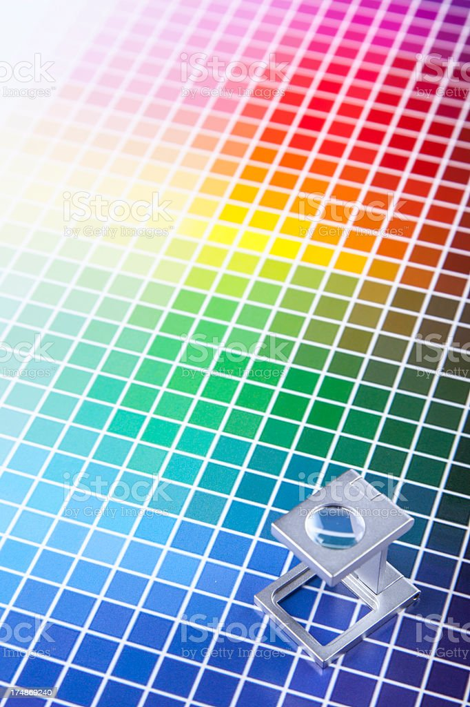 Color guide chart, rainbow background stock photo