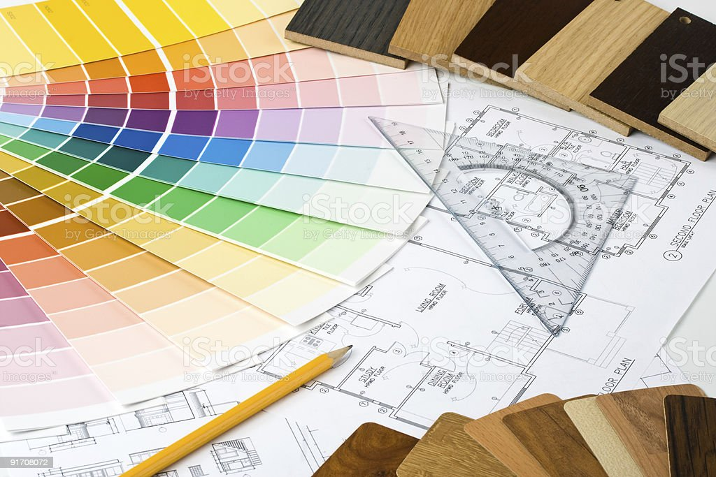 Color guide, material samples and blueprint royalty-free stock photo