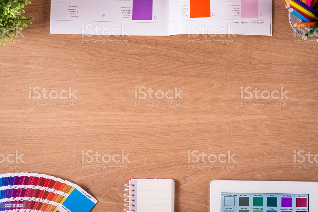 Color guide on design office table stock photo