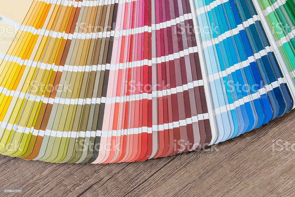 Color guide on desk closeup stock photo