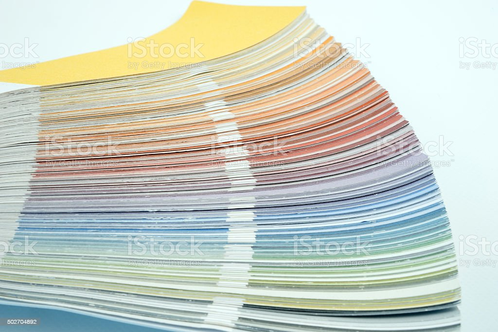 Color guide, palette of different colors stock photo