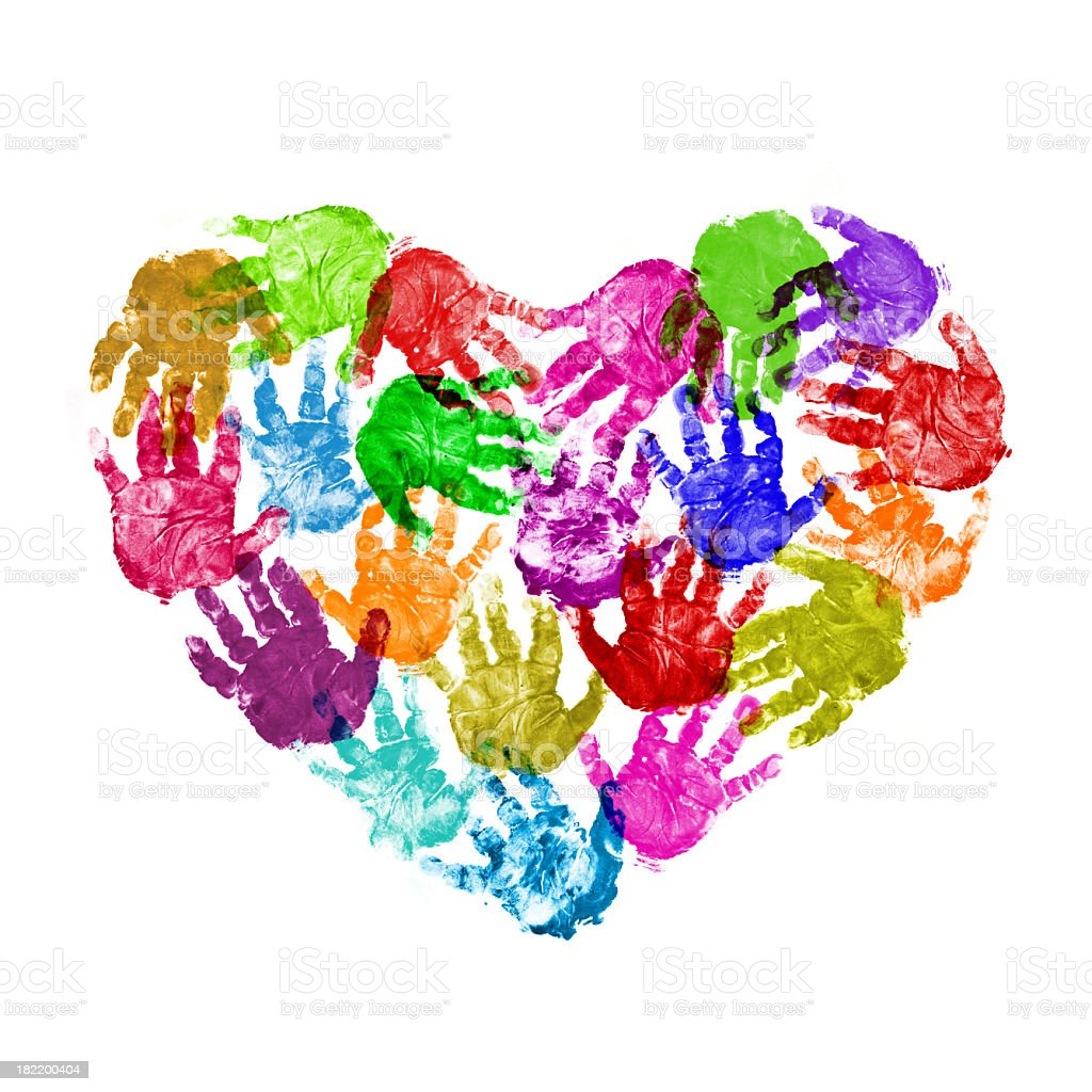 Color Heart of baby handprint royalty-free stock photo