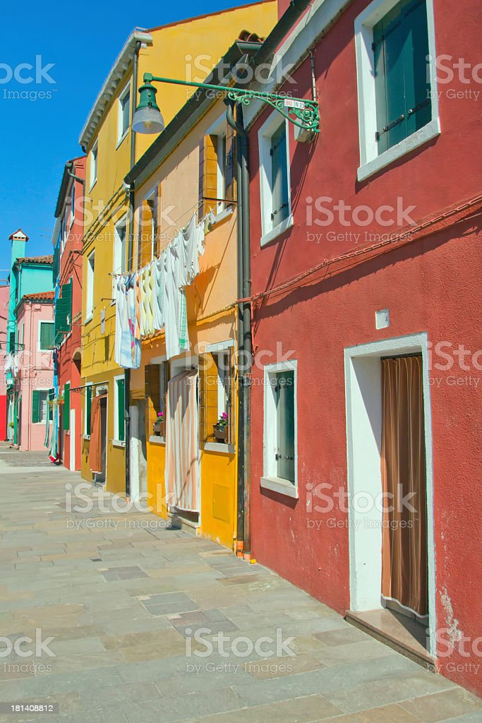 Color houses at Burano (Italy) royalty-free stock photo