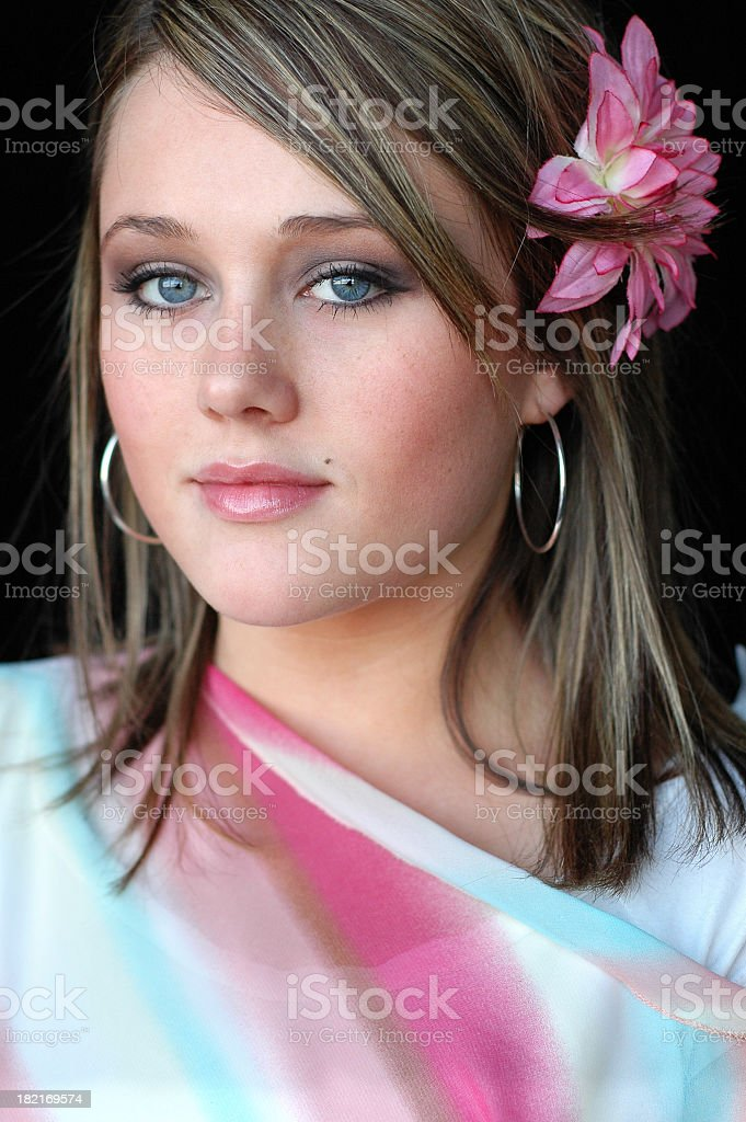 Color Image of Beautiful High School Senior Girl stock photo