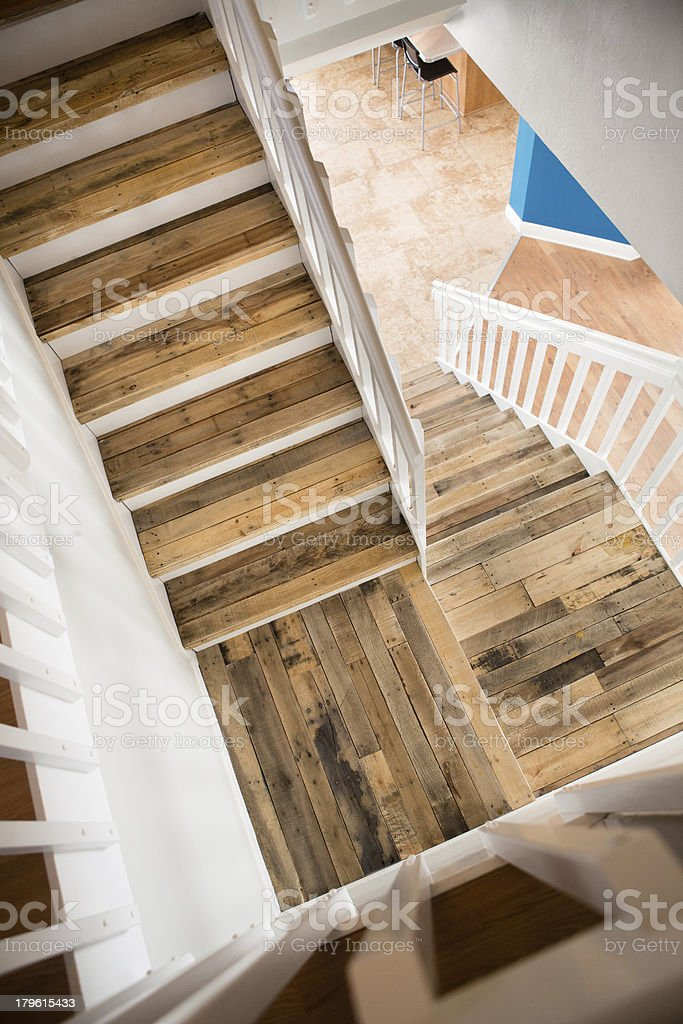 Color Image of Contemporary, Pallet Wood Staircase royalty-free stock photo