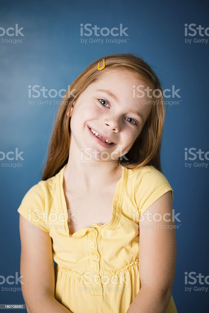Color Image of Cute Little Girl With Red Hair royalty-free stock photo